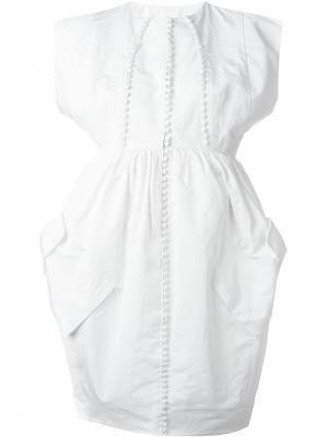 Платье с декоративными пуговицами Antonio Berardi. Цвет: белый
