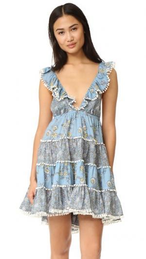 Многоуровневое летнее платье Caravan Zimmermann. Цвет: голубой