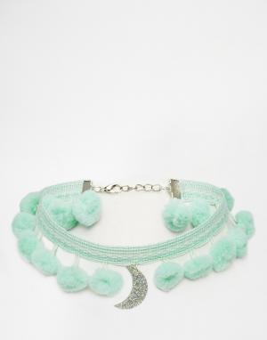 Suzywan DELUXE Ожерелье-чокер с полумесяцем. Цвет: зеленый
