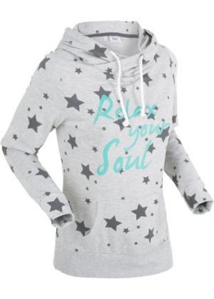 Легкий анорак со звездным принтом (светло-серый меланж звездочками) bonprix. Цвет: светло-серый меланж со звездочками