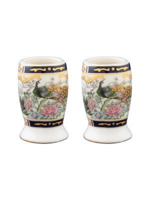 Набор из двух вазочек под зубочистки Павлин на золоте Elan Gallery. Цвет: черный, белый, золотистый