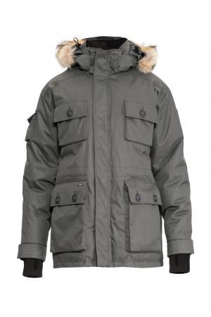 Парка-пуховик с капюшоном и мехом койота 152465 Nobis. Цвет: серый
