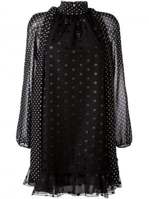 Платье свободного кроя с узором в горох Giamba. Цвет: чёрный