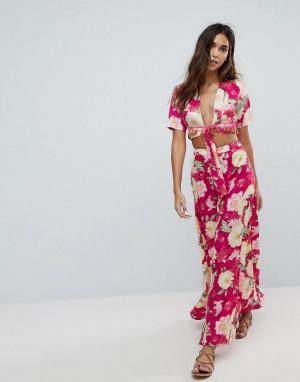 Boohoo Пляжная юбка макси с цветочным принтом. Цвет: мульти