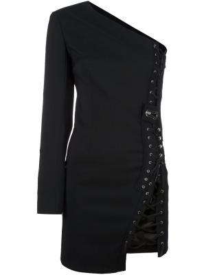 Приталенное платье на одно плечо Anthony Vaccarello. Цвет: чёрный