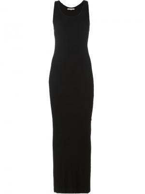 Приталенное длинное платье Stefano Mortari. Цвет: чёрный