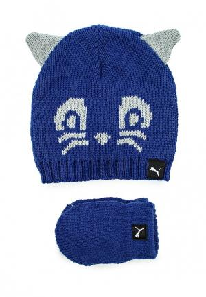 Комплект перчатки и шапка PUMA. Цвет: синий