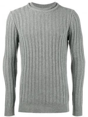 Ребристый трикотажный свитер с круглым вырезом Lot78. Цвет: серый