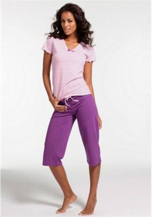 Пижама-капри H.I.S.. Цвет: кремовый/серо-коричневый, розовый/темно-серый, синий/темно-синий