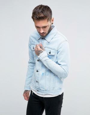 Always Rare Винтажная джинсовая куртка с брызгами краски. Цвет: синий