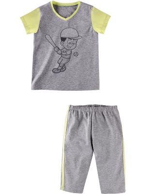 Комплект одежды Наша Мама. Цвет: серый меланж, салатовый