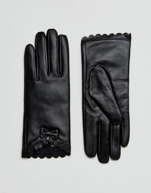 Barney's Originals Перчатки из натуральной кожи с фактурной отделкой и бантом Barneys Or. Цвет: черный