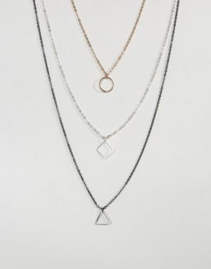 ASOS Ожерелье в несколько рядов с подвесками геометрической формы. Цвет: мульти