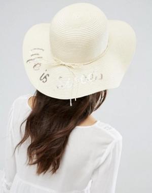 Boardwalk Соломенная пляжная шляпа с надписью. Цвет: кремовый