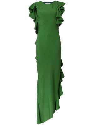Асимметричное платье с оборками Bianca Spender. Цвет: зелёный