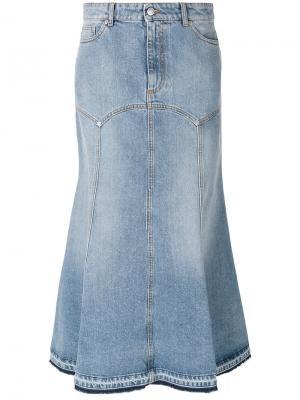 Джинсовая юбка миди Alexander McQueen. Цвет: синий