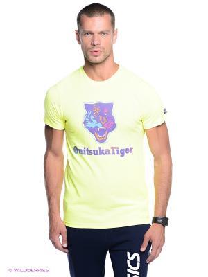 Футболка ONITSUKA TIGER. Цвет: желтый, фиолетовый
