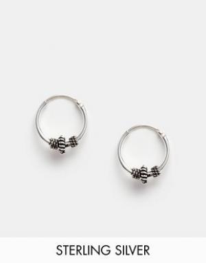 Kingsley Ryan Серебряные серьги-кольца 10 мм с отделкой. Цвет: серебряный