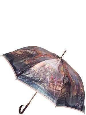 Зонт-трость Eleganzza. Цвет: темно-красный, коричневый, серый