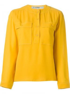 Блузка с круглым вырезом Jean Louis Scherrer Vintage. Цвет: жёлтый и оранжевый