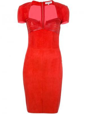 Платье с вырезом-сердце и панельным дизайном Jitrois. Цвет: красный