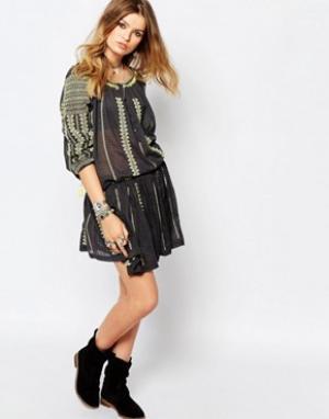 Gat Rimon Черная юбка с вышивкой. Цвет: черный