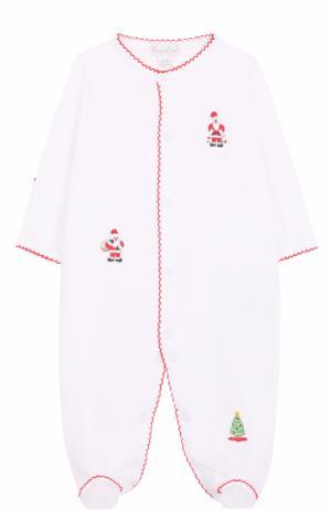 Хлопковая пижама с новогодними вышивками Kissy. Цвет: белый
