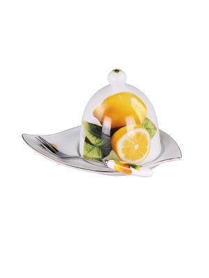 Подставка под лимон с вилочкой 15 см. PATRICIA. Цвет: белый, желтый