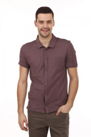 Рубашка с коротким рукавом Pezzo. Цвет: коричневый