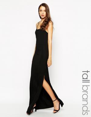 Taller Than Your Average Платье макси с решетчатой спинкой и разрезом сбоку TTYA. Цвет: черный