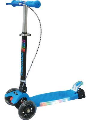 Самокат-кикборд Novatrack RainBow подростковый ручной тормоз светящ.платформа складной max 80кг. Цвет: синий