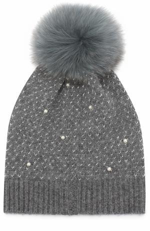 Шерстяная шапка фактурной вязки с помпоном Yves Salomon Enfant. Цвет: голубой