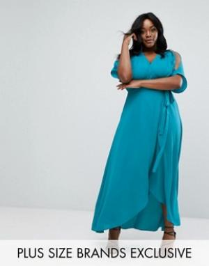 Truly You Платье макси с запахом. Цвет: зеленый