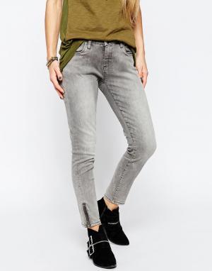 BLANK NYC Серые выбеленные укороченные джинсы скинни с молниями у щиколоток Blan