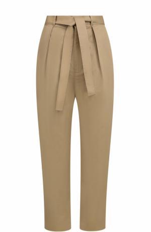 Укороченные брюки с защипами и поясом Polo Ralph Lauren. Цвет: хаки