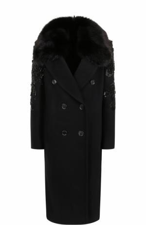 Двубортное пальто с отделкой из меха лисы и вышивкой Elie Saab. Цвет: черный