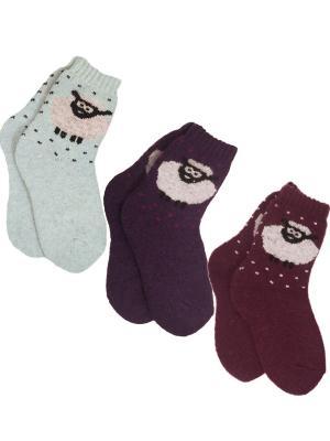 Носки шерстяные, 3 пары HOBBY LINE. Цвет: бордовый,голубой,фиолетовый