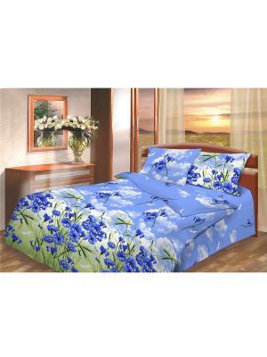 Комплект постельного белья из бязи Василиса. Цвет: синий, белый, голубой, зеленый