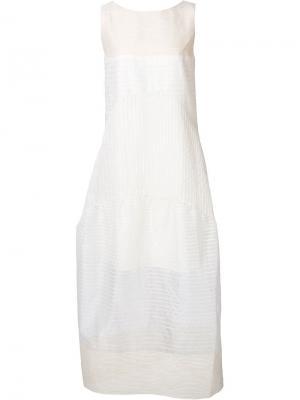 Прозрачное платье в полоску Audra. Цвет: телесный