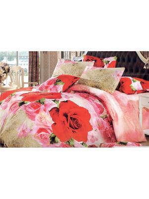 Постельное белье ЕВРО La Pastel. Цвет: бежевый, красный, розовый