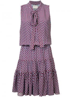 Платье в горох с мягким бантом Alexis. Цвет: розовый и фиолетовый