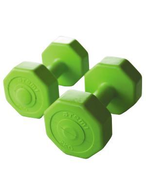 Гантели виниловые 2 кг х шт Atemi, AD-02-4 Atemi. Цвет: светло-зеленый