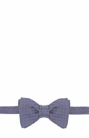 Шелковый галстук-бабочка с узором Eton. Цвет: синий