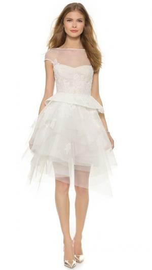 Платье с короткими рукавами Zoey Monique Lhuillier. Цвет: белый шелк/телесный