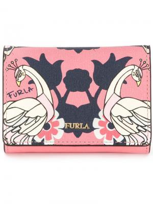 Бумажник с принтом птиц Furla. Цвет: розовый и фиолетовый