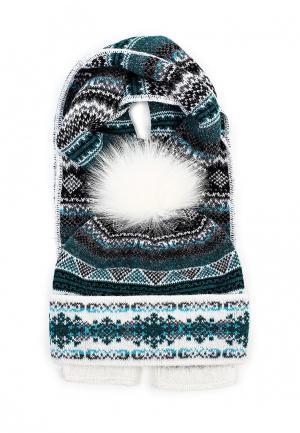 Комплект шапка и шарф Ferz. Цвет: бирюзовый