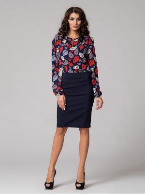Блузка Be cara. Цвет: темно-синий, красный