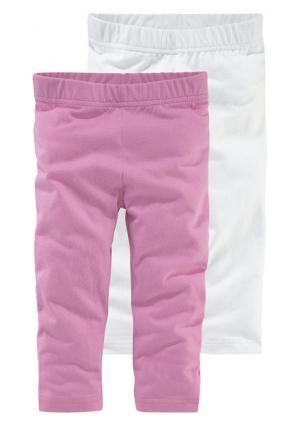 Легинсы, 2 пары KIDOKI. Цвет: розовый+белый