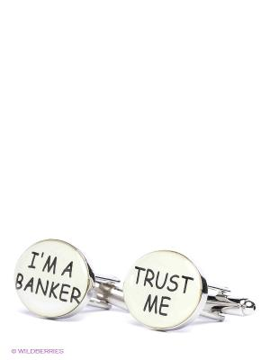 Запонки Верь мне. Я банкир Mitya Veselkov. Цвет: серебристый