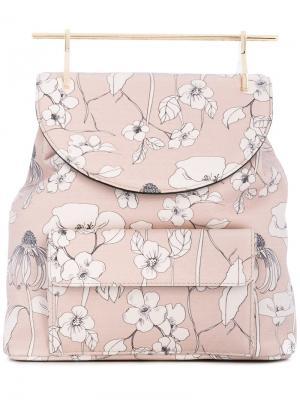 Рюкзак с цветочным принтом M2malletier. Цвет: телесный